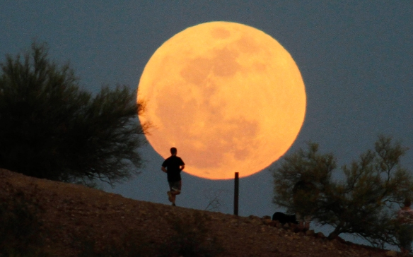 "A runner makes his way along a trail on a butte in front of the ""super Moon""  at Papago Park in Phoenix, Arizona May 5, 2012. A ""super Moon"" will light up Saturday's night sky in a once-a-year cosmic show, overshadowing a meteor shower from remnants of Halley's Comet, the U.S. space agency NASA said. The Moon will seem especially big and bright since it will reach its closest spot to Earth at the same time it is in its  full phase, NASA said.  REUTERS/Darryl Webb  (UNITED STATES - Tags: ENVIRONMENT SOCIETY TPX IMAGES OF THE DAY)"